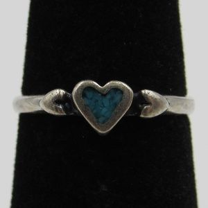 Size 3.5 Sterling Turquoise Inlay Heart Band Ring